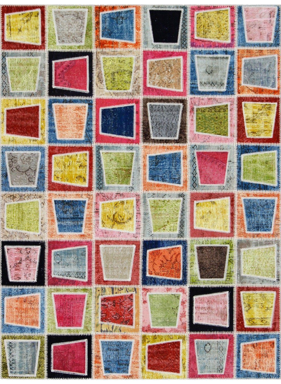 Tapis multicouleur NIDUS PATCHWORK Multicolor en laine de la collection Unamourdetapis