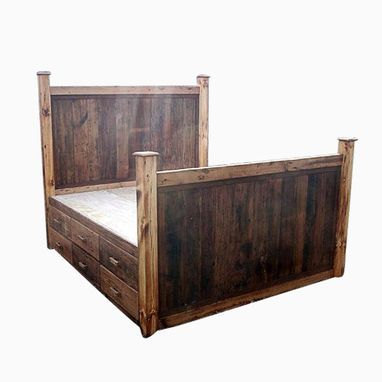 Custom Made 12 Drawer Rustic Reclaimed Wood Platform Storage Bed King Size