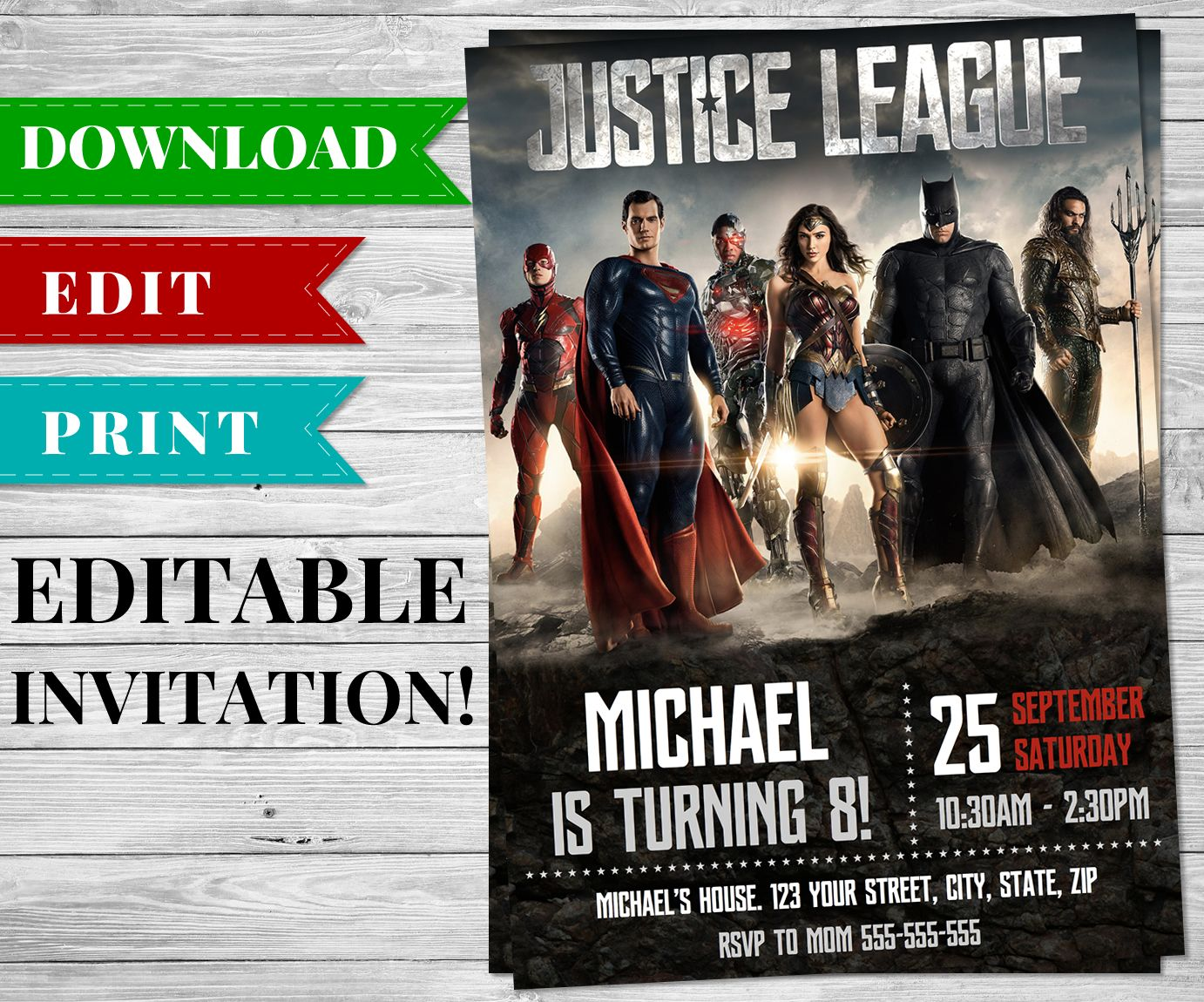 Printable Justice League Invitation Ready For You To Download And Add Your Party Details This Is An Editable PDF Be