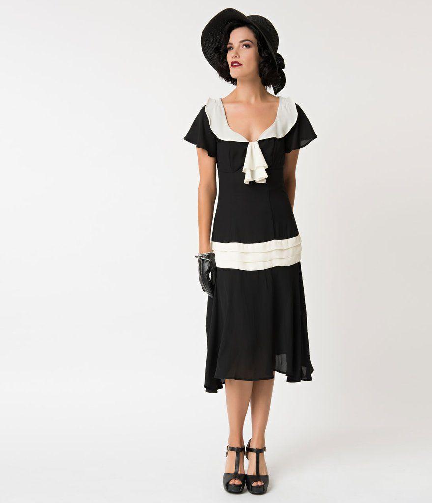 Unique Vintage 1920s Black Cream Wilshire Flapper Day Dress Day Dresses Drop Waist Dress 1920s Unique Dresses [ 1023 x 879 Pixel ]