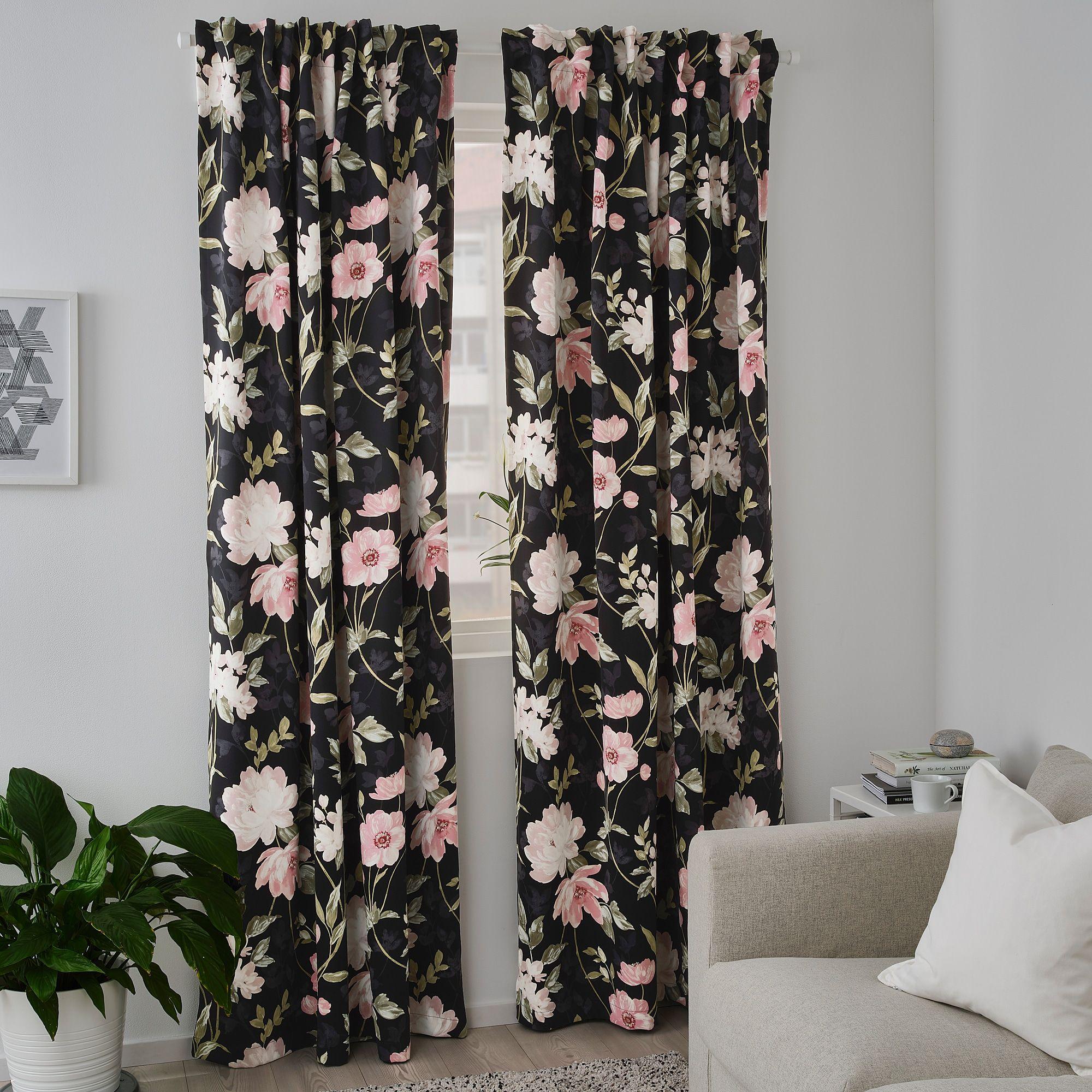 IKEA - ROSENMOTT Blackout curtains, 1 pair, Black/