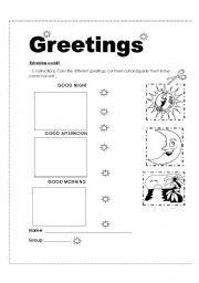 English worksheet: Homework about greetings
