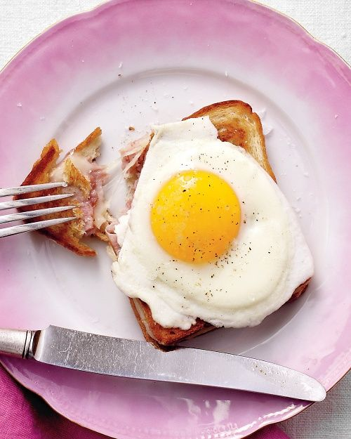 Croque Madame Sandwiches - AKA: Grilled ham-and-cheese sandwich with a fried egg on top!