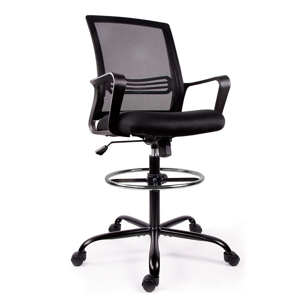 Smugchair Drafting Chair Tall Office Chair For Standing Desk Drafting Mesh Table Chair With Adjustable Armrest A Tall Office Chairs Drafting Chair Office Chair