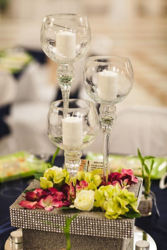 Tall Wine Glass Candle Holders Glass Wedding Centerpieces Glass Centerpieces Wine Glass Candle