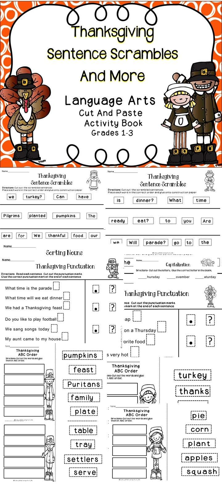 Thanksgiving Language Arts and Reading Activities   Teacher pay ...