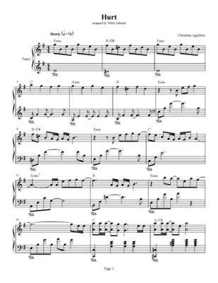 Hurt Sheet Music Free Hurt Christina Aguilera Piano Sheet