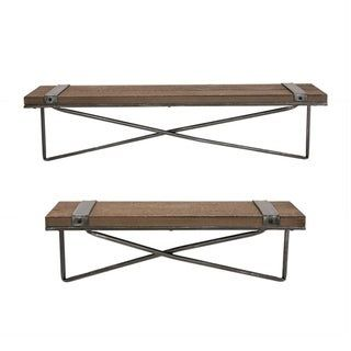 Photo of Glitzhome Farmhouse Rustic Metal Wooden Wall Shelf Set of two (Large and Small), Brown(MDF)