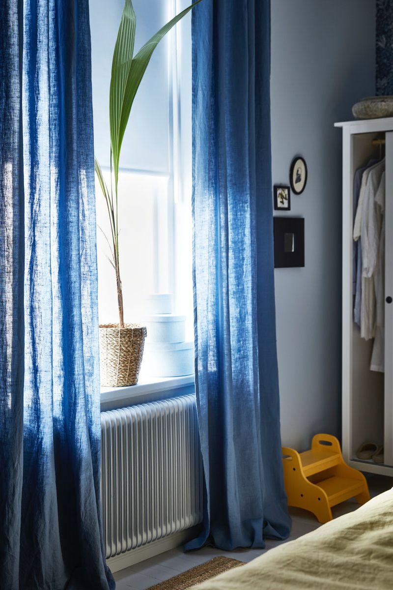 Aina Gardine Leinen Blau Vorhange Wohnzimmer Gardinen Neue