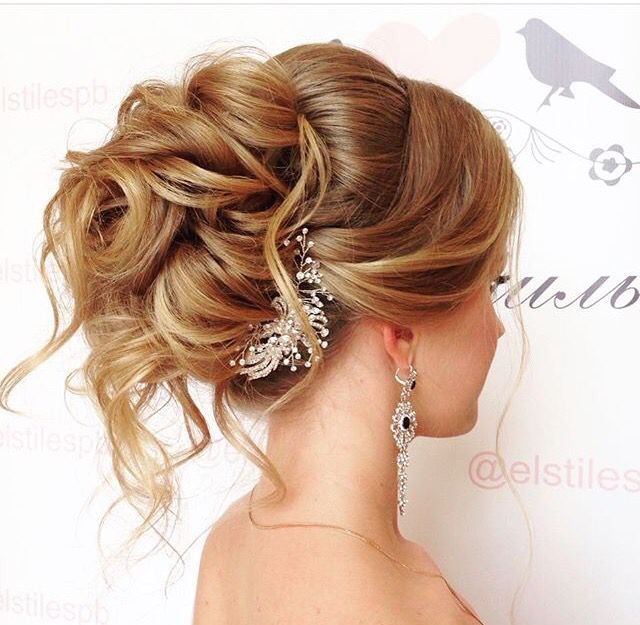 Soft Romantic Updo Messy Updo Loose Curls Wedding Hairstyles