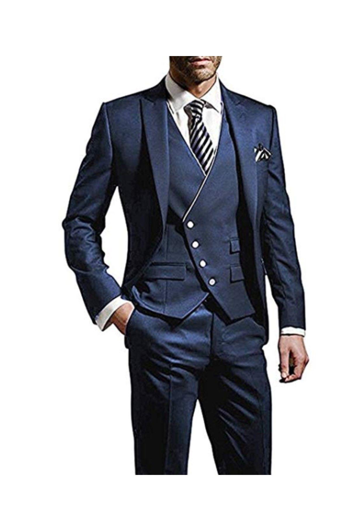 829eb2f68e2 Men s Slim Fit Peak Lapel Suits 3 Pieces Wedding Suits for Men Groom Tuexdos