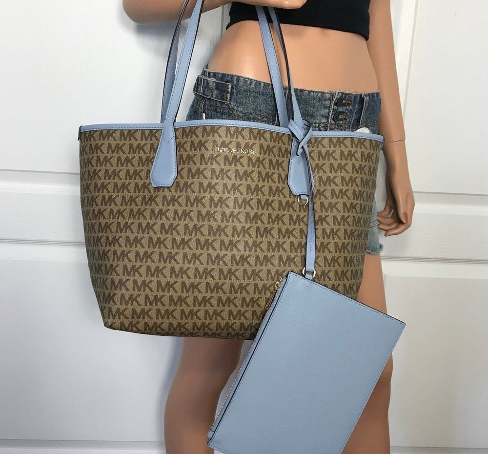 NWT Michael Kors Candy Large Reversible Tote MK Signature Beige Pale Blue   MichaelKors  Tote 2d8cccd156f87