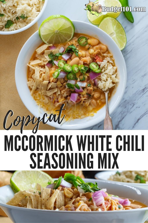 Copycat Mccormick White Chili Seasoning Mix Recipe By Budget101 Com White Chili Recipe Chili Seasoning Mix Recipe Chili Seasoning Mix