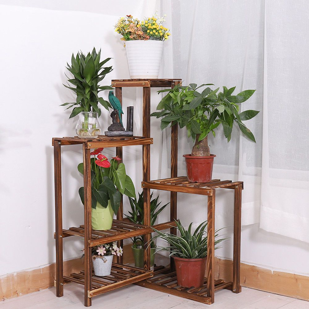 6tier Wood Corner Rack Shelf Flower Stand Plant Ladder Pot Holder Indoor Outdoor Wall Plant Holder Plant Stand Indoor Corner Plant