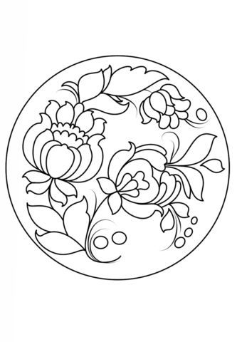 Petrykivka Painting Plate Coloring Page From Petrykivka Painting
