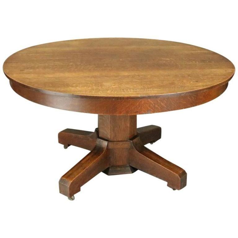 Antique Stickley Bros Arts Crafts Mission Oak Round Dining Table Circa 1915 1