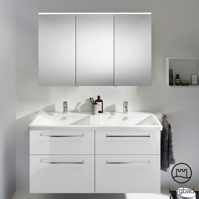 Burgbad Eqio Das Badmobel Set 5 Kombiniert Gleich 2 Geraumige Waschplatze Mit Einem Schicken Spiegelschrank Spiegelschrank Waschtischunterschrank Badmobel Set