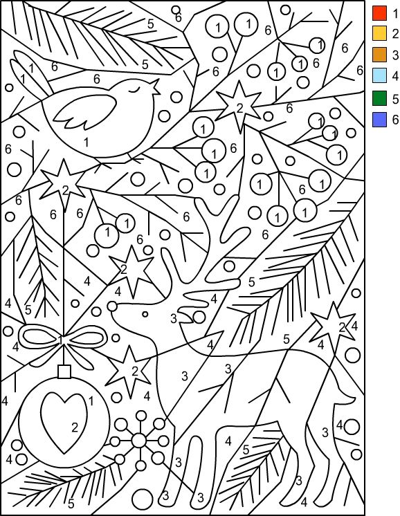 Nicole\'s Free Coloring Pages: CHRISTMAS * Color by Number | Color by ...