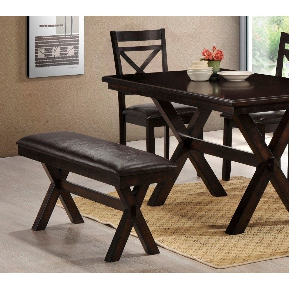 LYKE Home Faux Leather Padded Dining Bench | Overstock.com Shopping   The  Best Deals On Dining Chairs