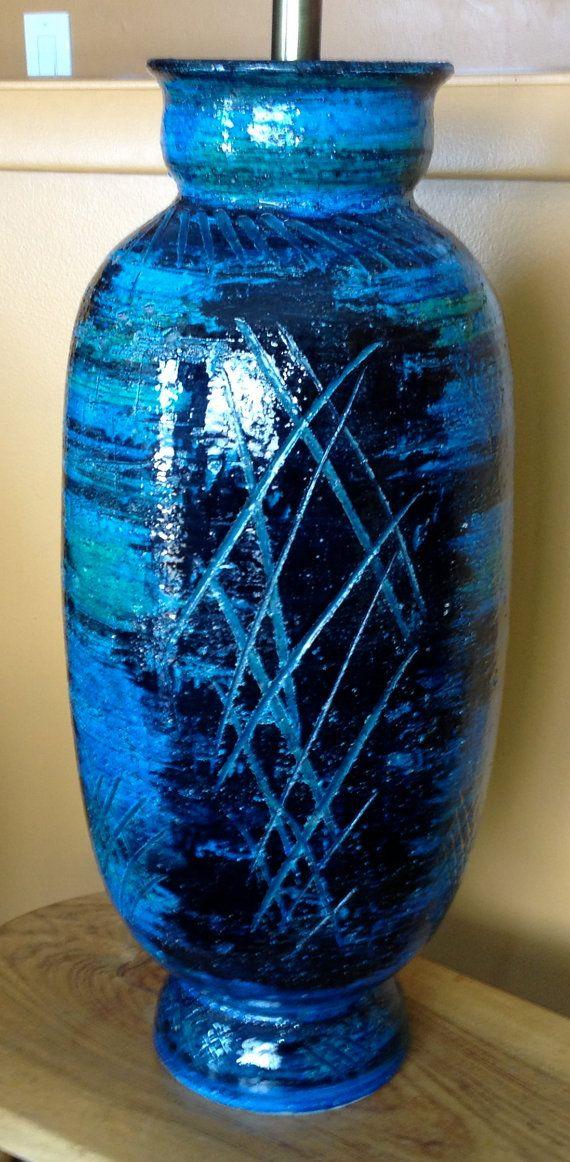 Huge Bitossi Aldo Londi Blu Rimini Pottery Lamp by