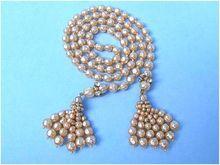 Vintage Faux Baroque Pearl Sautoir Tassel Necklace