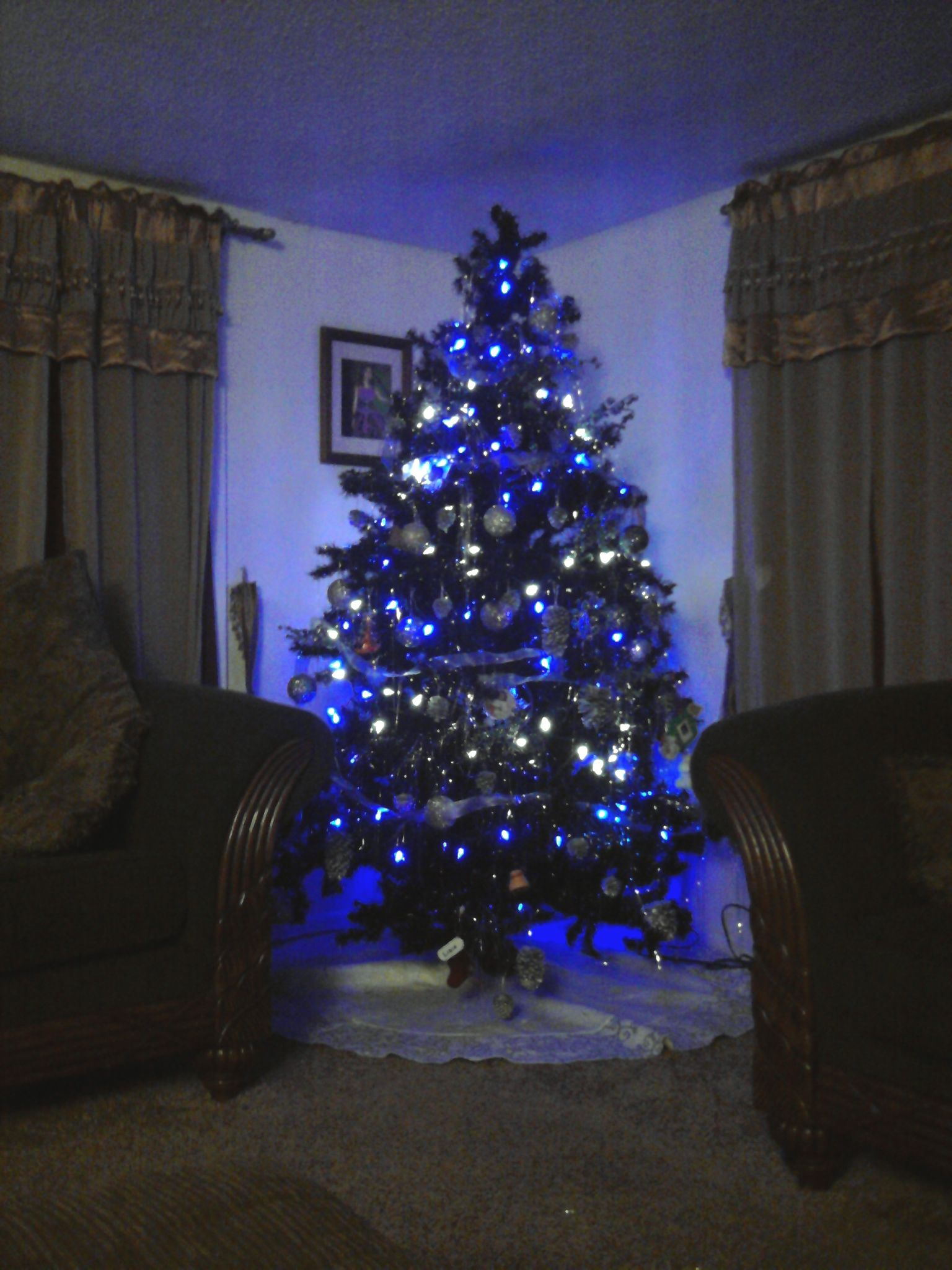 Our Black Christmas tree with blue/white lights | Holidays and ...