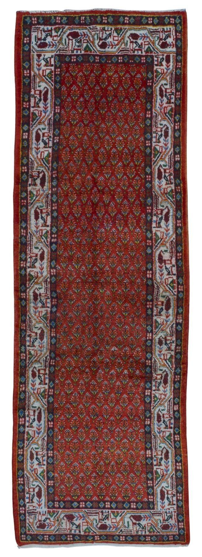 Semi-Antique Persian Hamadan Oriental Runner Rug 3'6X10'8