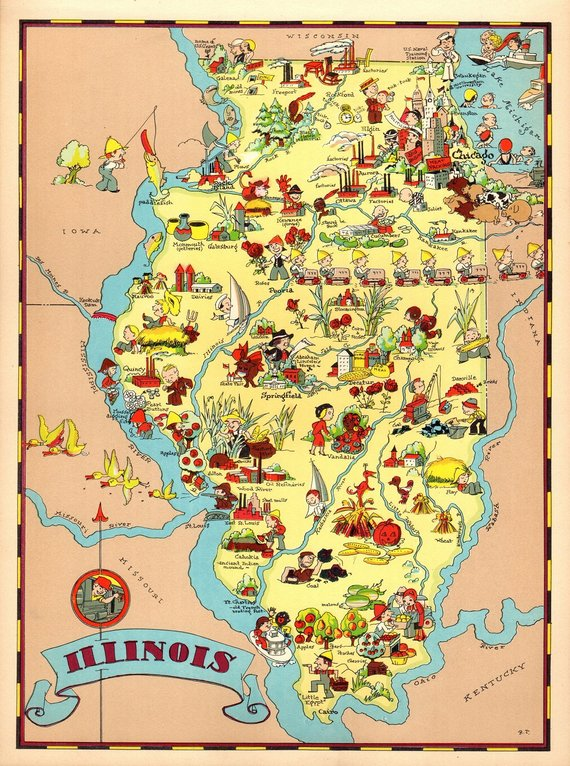 1930\'s Vintage Illinois Picture Map State Cartoon Map Print Gallery ...