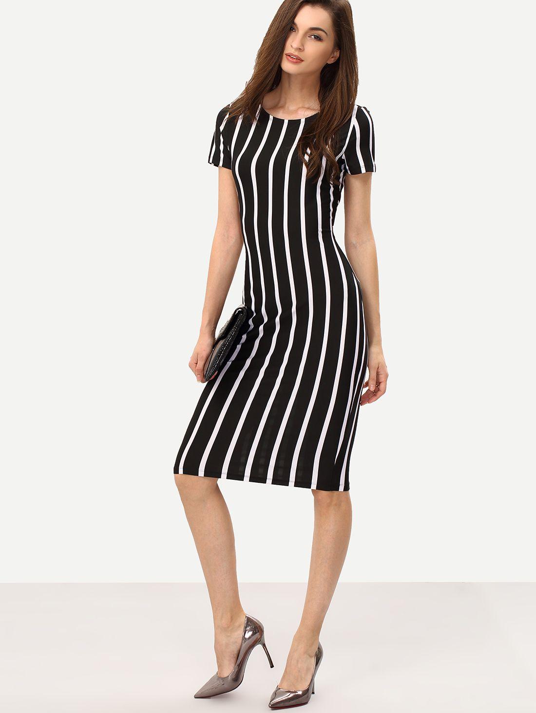 Vestido rayas negras y blancas verticales