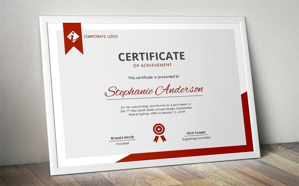 Modern MS Word certificate template Pinterest Certificate