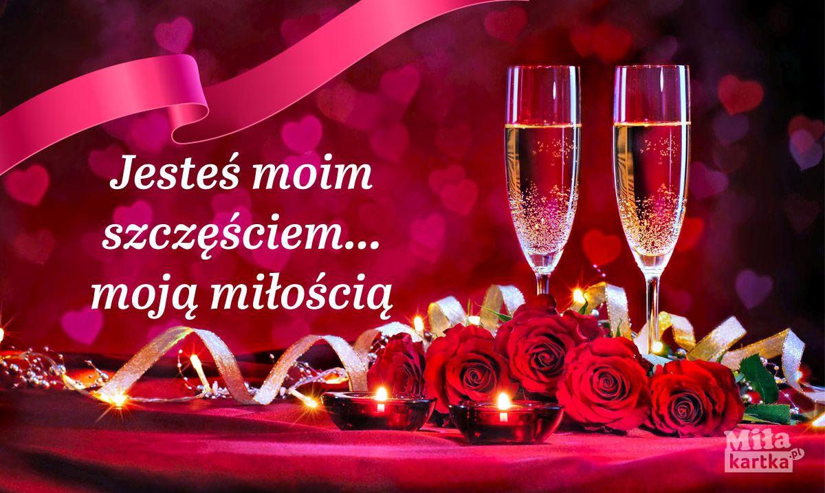 Jesteś Moim Szczęścziem Kartki Miłość Walentynki Love