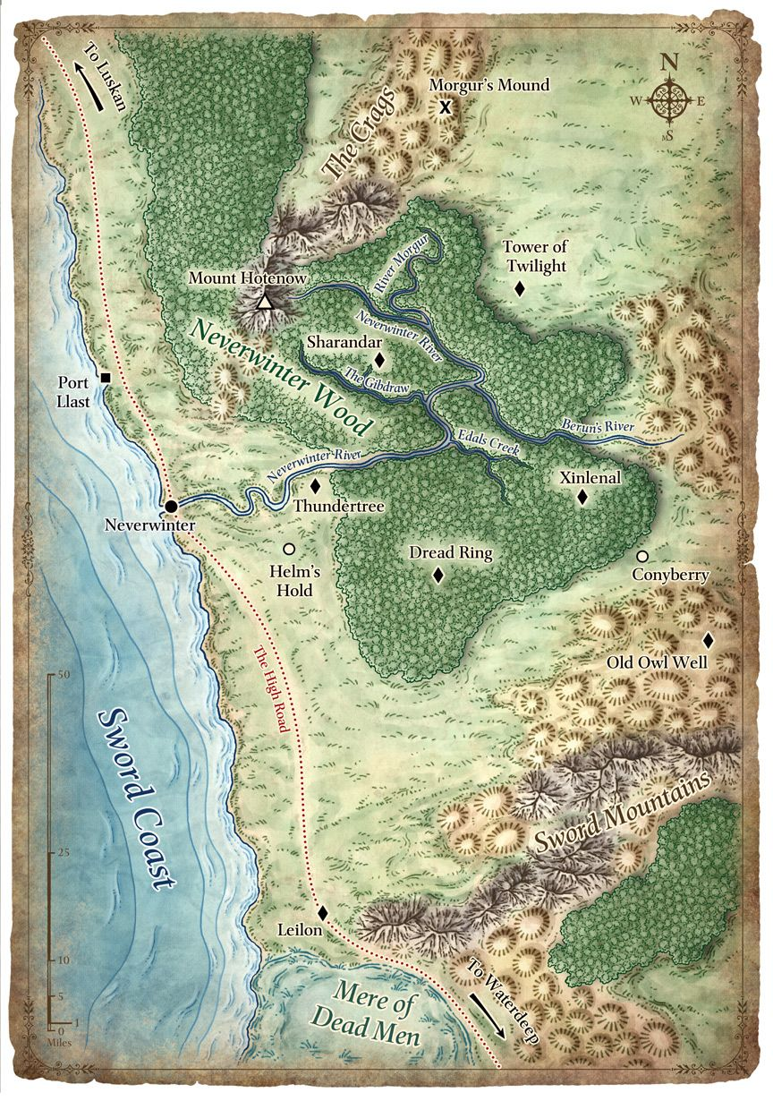 The North Sword Coast - poster map of the Forgotten Realms