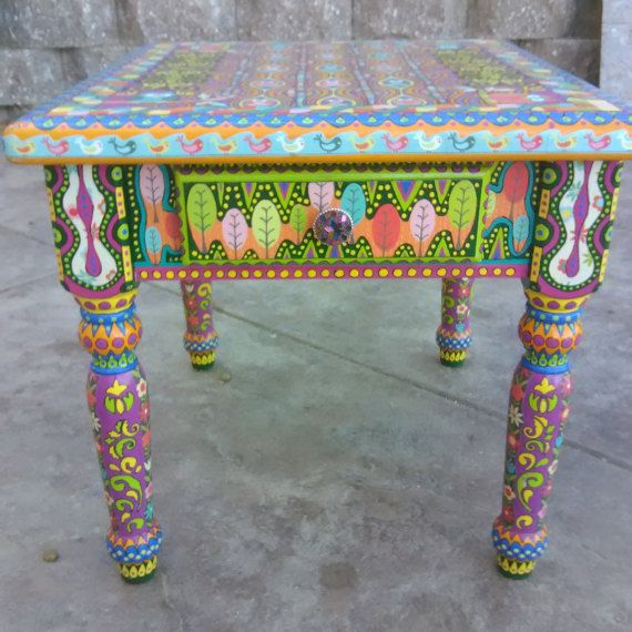 This Is Highly Detailed Hand Painted Bohemian Style Side Table With One Drawer It Can Be Used A Painted Side Tables Bohemian Side Table Meditation Room Design