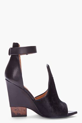 GIVENCHY Black Calf-hair Podium Sandals |=