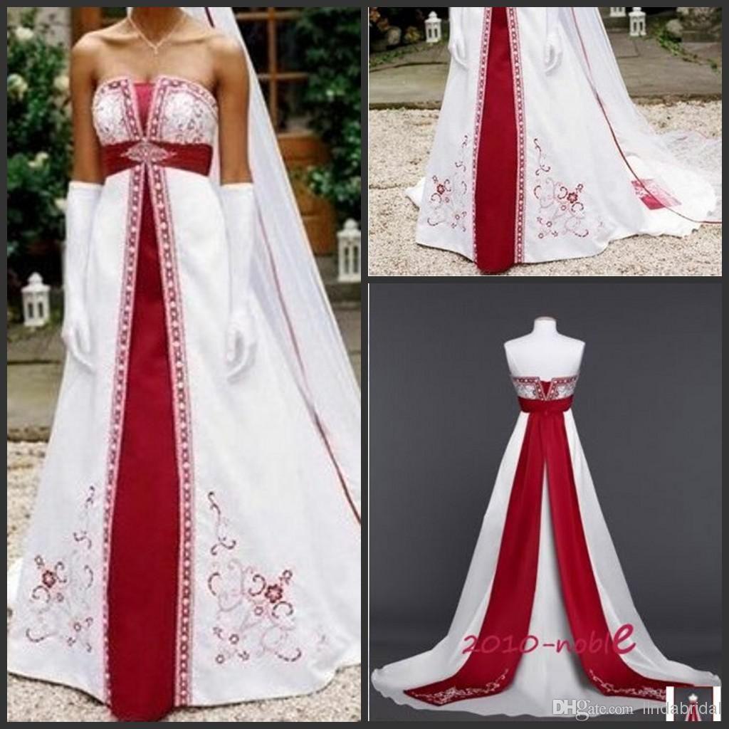 Wholesale A Line Wedding Dresses Buy Strapless Wedding Dress A Line Burgundy Embroidery White Satin Colo A Line Wedding Dress Strapless Wedding Dress Dresses [ 1024 x 1024 Pixel ]