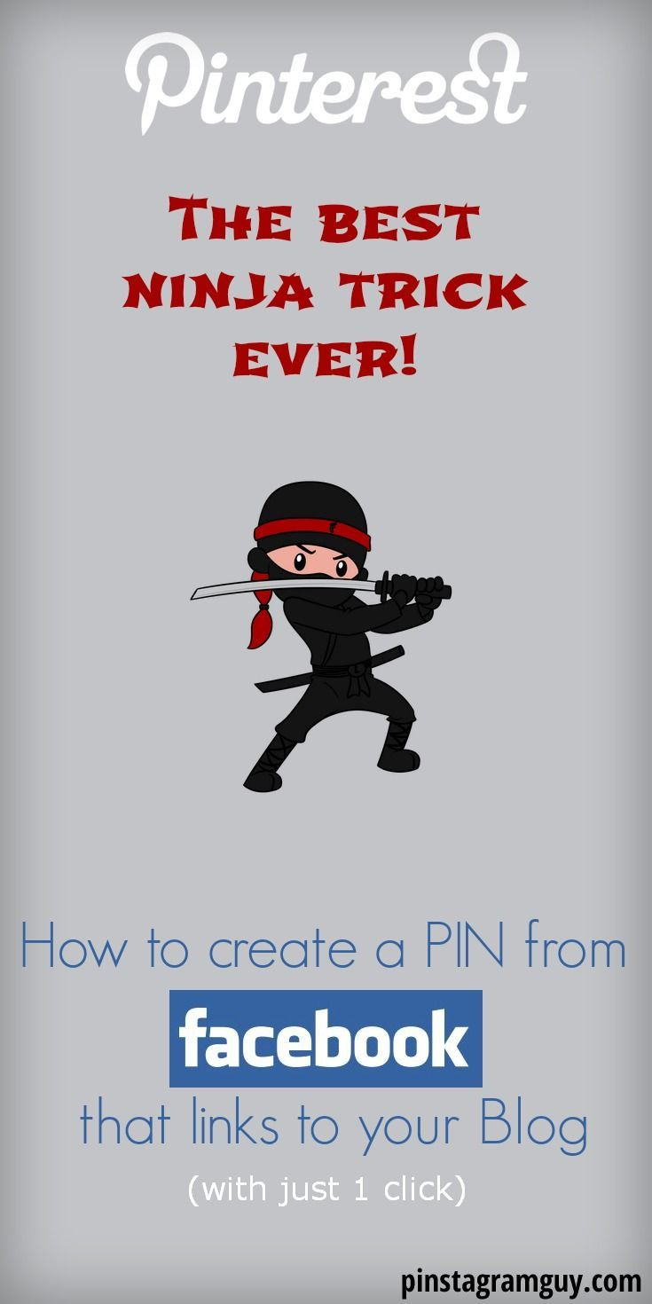 How to PIN from Facebook with just one click... The best Pinterest Ninja trick Ever! REPIN and click to see the Step by Step Tutorial pinstagramguy.com... #pinterest #pinteresttip