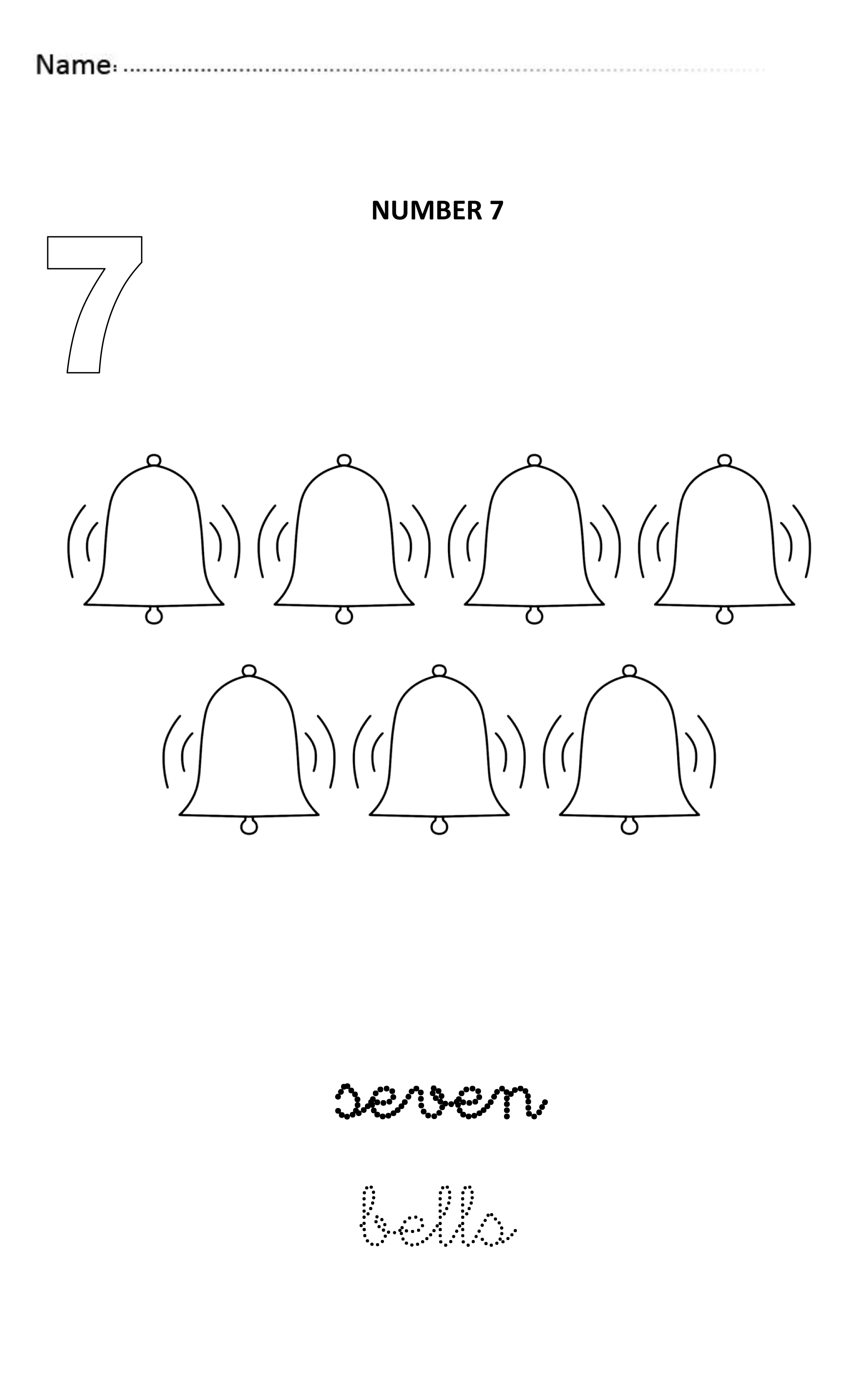 Number 7 Easy And Visual Worksheet To Teach Numbers For