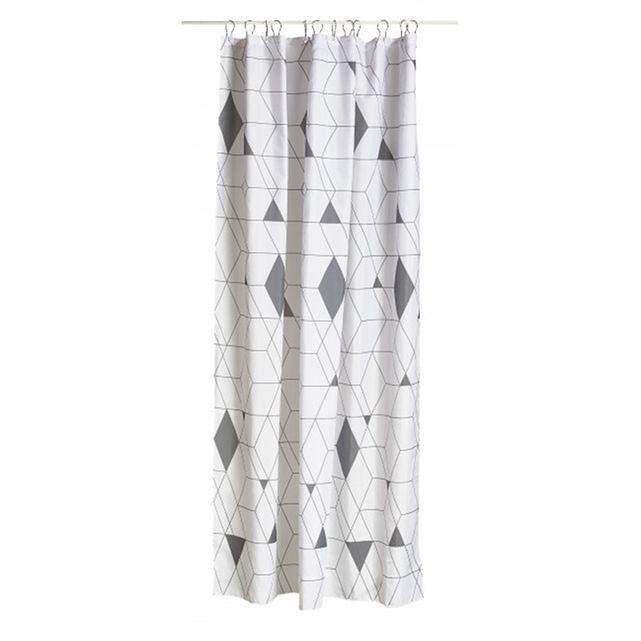 rideau de douche en polyester arlequin gris et blanc wadiga prix avis notation livraison. Black Bedroom Furniture Sets. Home Design Ideas
