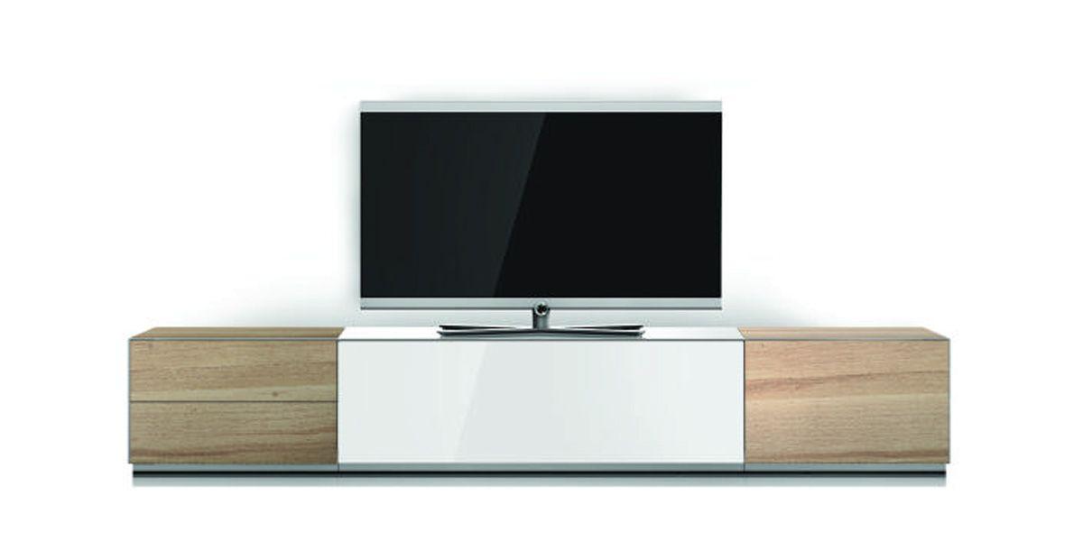 meuble tv sonorous elements blanc laqu et bois inspiration pinterest tvs - Meuble Tv Bois Et Laque