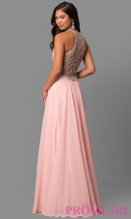 7257a355a43 Long Prom Dress with Embellished Racerback Bodice