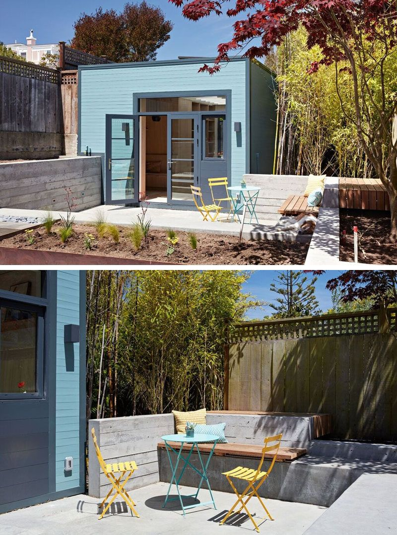 Modern garden wall art  This Small Backyard Art Studio Has A Reading Nook And Hidden Powder