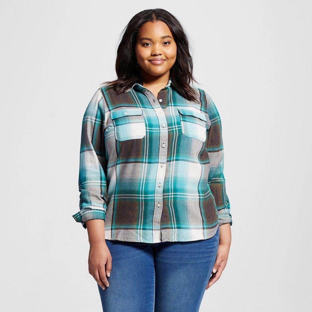 Womenus Plus Size Plaid Flannel Shirt Green X  Mossimo Supply Co