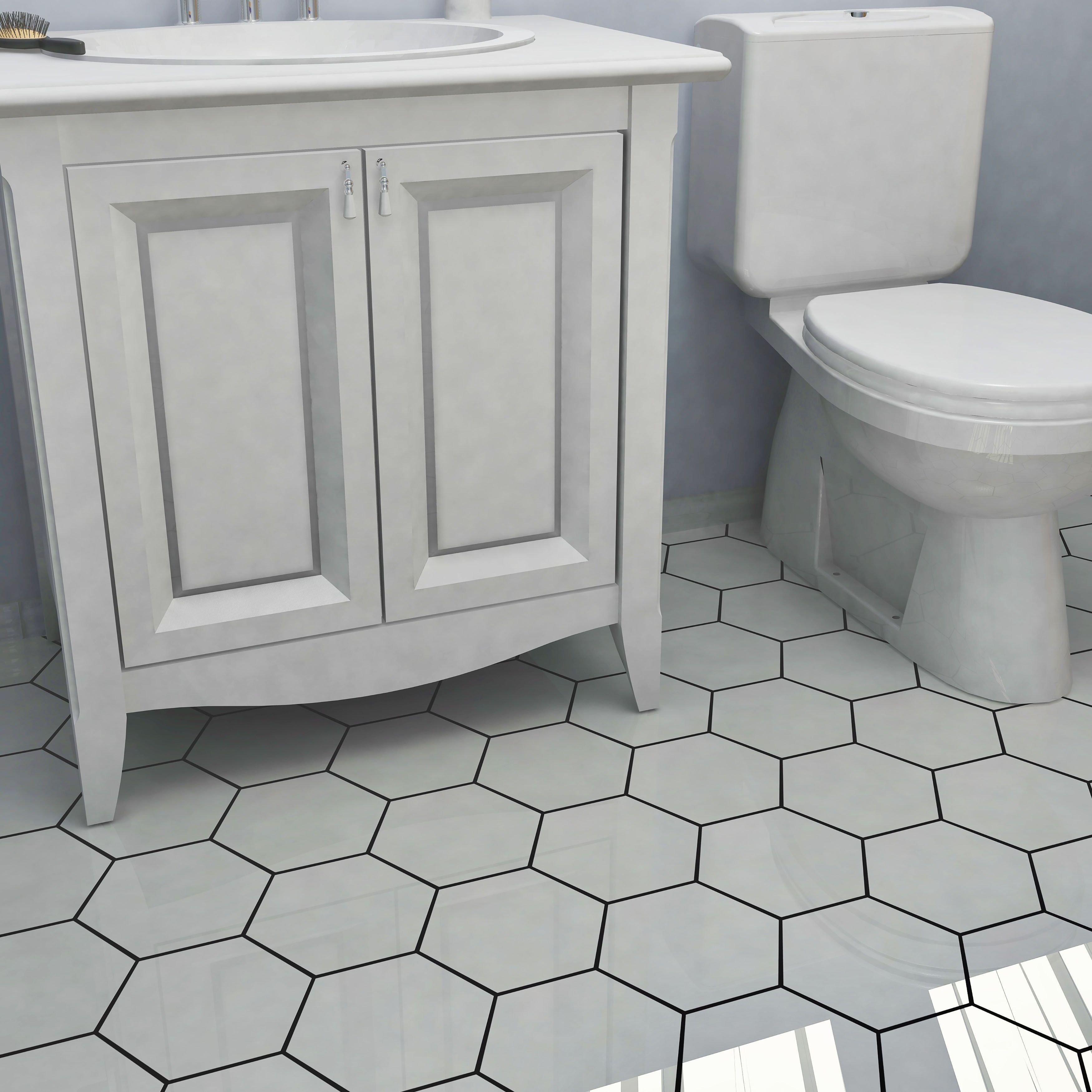 Somertile hextile matte white porcelain floor and wall tile set greywhiteporcelain floor tiles add the classic beauty and functionality of floor dailygadgetfo Gallery