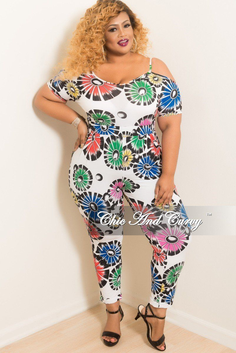 a2ed734e090 Plus Size Off the Shoulder Jumpsuit in White Multi Color Print – Chic And  Curvy