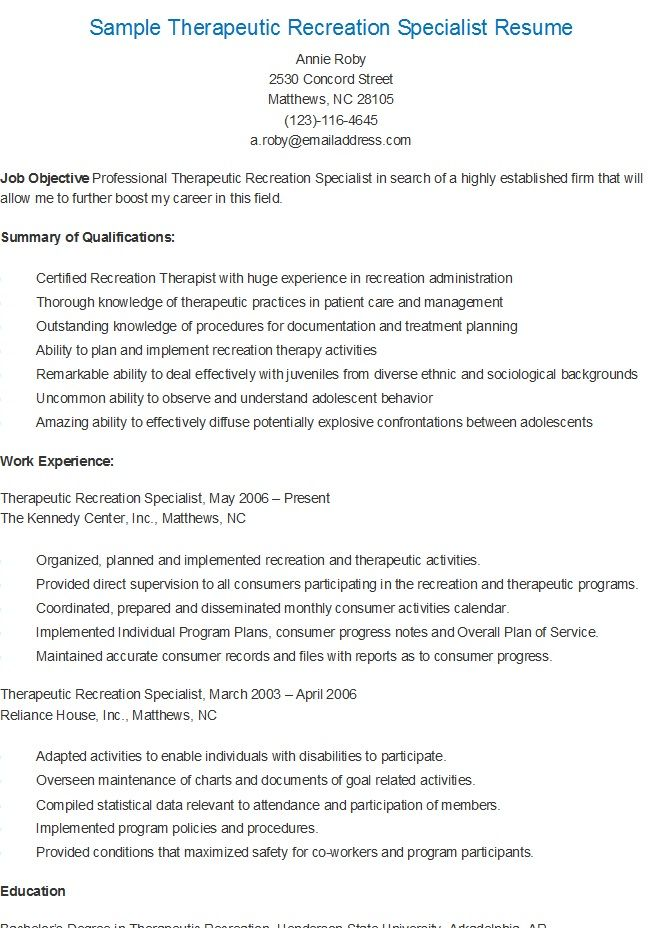 Sample Therapeutic Recreation Specialist Resume resame Pinterest