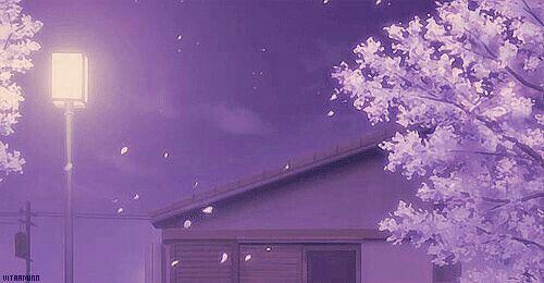 Purple Pemandangan Anime Latar Belakang Pemandangan