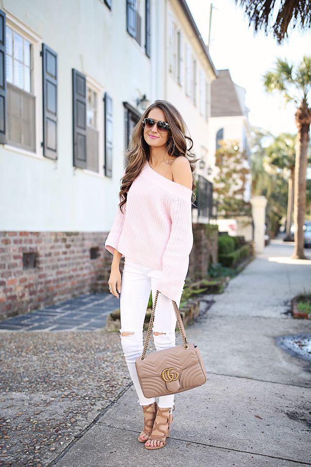 ad82ce5c9b4 baby pink off-the-shoulder sweater    white pants Steve Madden sandals    Gucci  Marmont handbag Celine sunglasses