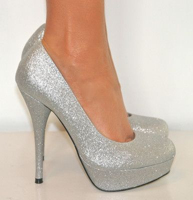 gorgeous stiletto platform heels | KOI COUTURE SILVER GLITTERY ...