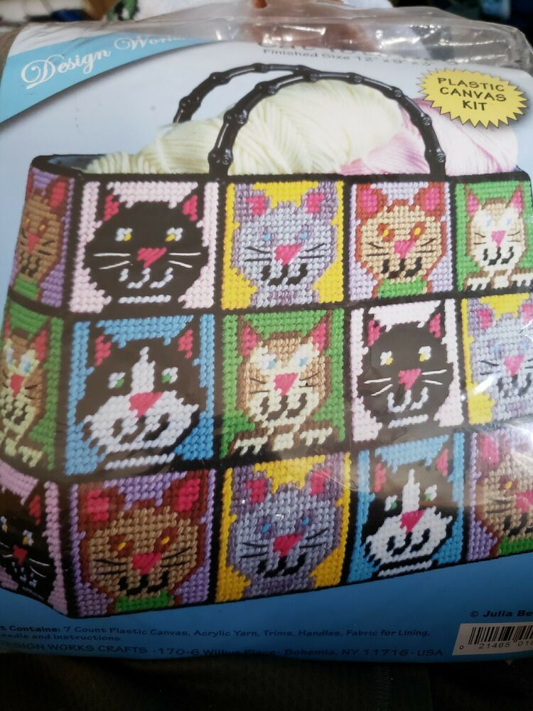 33e897e55 Details about Cat Tote Bag Plastic Canvas Kit 12