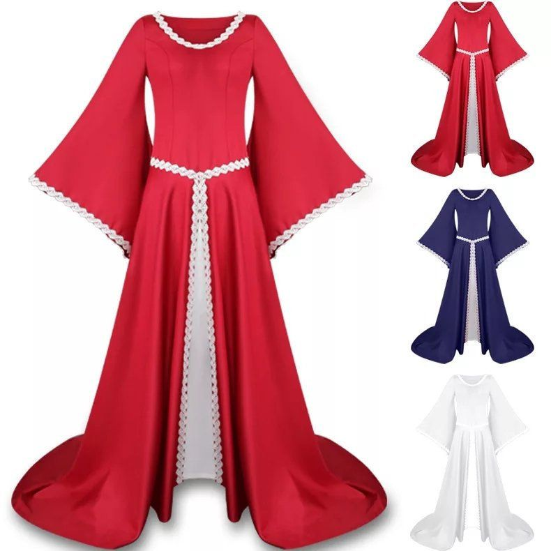Hochzeitskleid Mittelalter weiss rotblau, Hochzeit ...